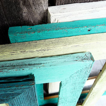 Rustic Barn wood 8 x 10 Picture Frames - Set of 5 Painted Shabby Chic Picture Frames, Vintage Antique Natural Wood Colored