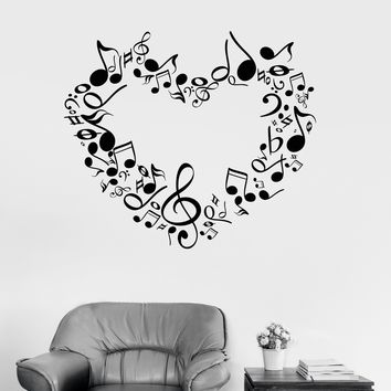 Vinyl Wall Decal Music Lover Musical Heart Great Room Decoration Sticker Unique Gift (ig3057)