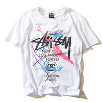"""Stussy""Lover Unisex Print Letter Pattern Loose Scoop Neck Short Sleeve blouse top"