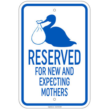 """Heavy Stork Parking - Reserved For Expectant Mother Sign 12""""x18"""" Aluminum Signs"""