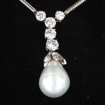 Vintage 3.95ct Diamond Cultured South Sea Baroque Pearl Drop 14 Karat White Gold Necklace Jewelry