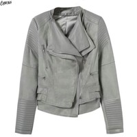 Women Faux Suede Patch Worked PU Leather Biker Jacket Coat Double Layered Wide Lapel Long Sleeve 2 Colors Cropped Outwear
