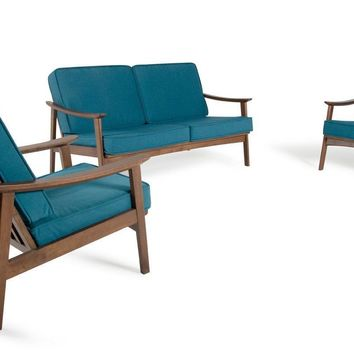 Modrest Ridge Mid Century Modern Blue & Walnut Sofa Set