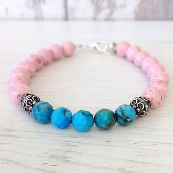 Natural stone bracelet, pink and turquoise, gemstone jewelry, om charm, pink blue bracelet, beaded bracelet, yoga bracelet