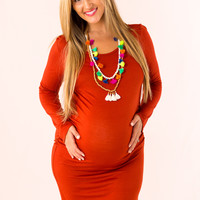 Cute and Colorful Maternity Dress in Rust
