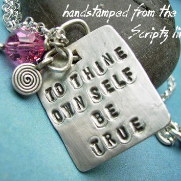 Hand Stamped SCRIPTZ sterling silver Necklace, Poem Charm Necklace, Shakespeare To Thine Own Self Be True, Swarovski crystal, spiral charm