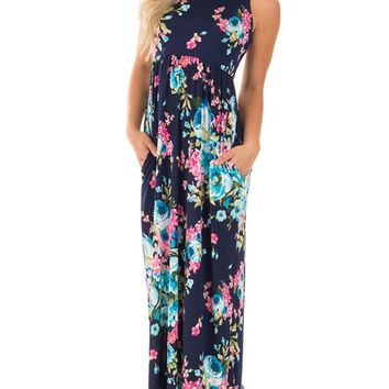 Jug&Po Women's Floral Print Sleeveless Long Maxi Casual Dress (Small Navy Blue)