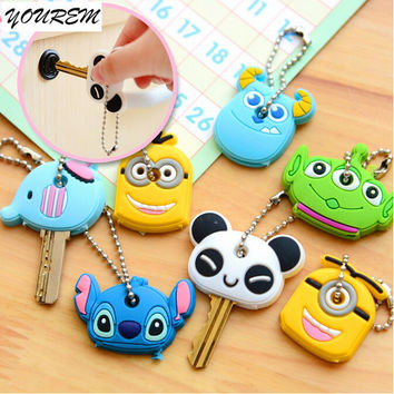 one piece Cartoon Silicone Cute Key Cover For Women Key Cap Stitch Keychain Key Chain Key Holder Gifts fj309