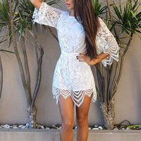 Fashion Embroidery lace short sleeved halter skirt