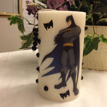 Batman handmade scented candle with back bats and beads