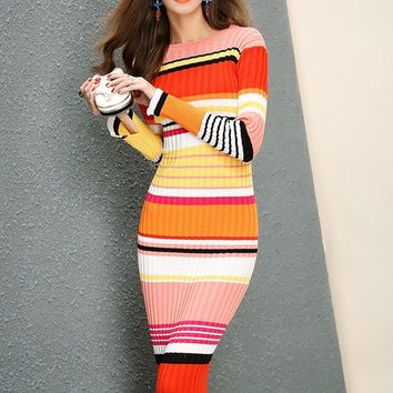 Rainbow Midi Sweater Dress
