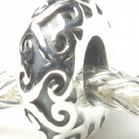 Beads Hunter Jewelry Heart Lattice Work Heart Bead Spacer .925 Sterling Silver European Style Bead Charm
