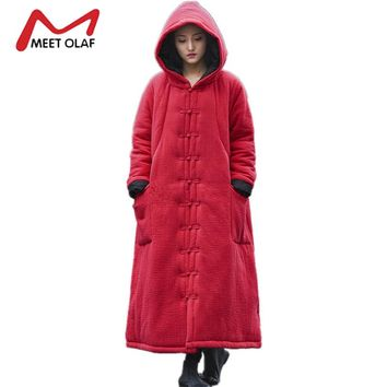 Presale Women Winter Hooded Cape Long Warm Cotton Padded Female Loose Trench Coats 2017 Vintage Retro Windbreaker Plus Size Y915