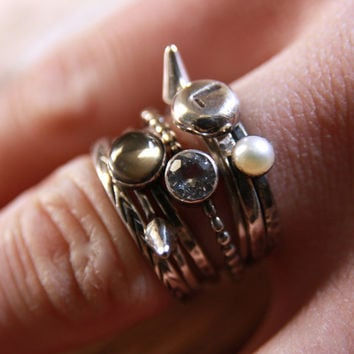 Molten Initial Nugget Ring, recycled sterling silver hand stamped stacking stacker ring pearl pyrite white topaz spike stack beaded band