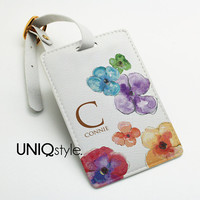 Luggage Tag - floral pattern personalized custom made luggage tag, name tag, travel tag, gift, colorful watercolor flowers - E96