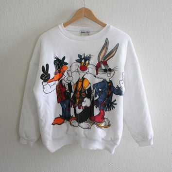 Vintage 90s peace looney tunes puff / quilted sweater Jerry Leigh