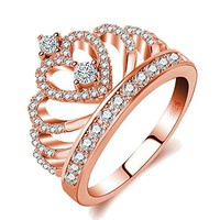AUGUAU Rings Women 18K Rose Gold Plated AAA Cubic Zirconia Princess Crown Ring Girl Gift Wedding Engagement