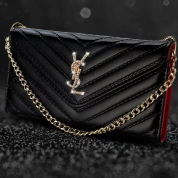 YSL Fashion new diamond letter mobile phone shell chain leather case women phone case protective cover bag Black