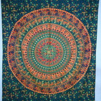 Elephant Mandala Tapestry, Hippie Indian Tapestry, Indian Mandala Tapestry Cotton Mandala Bed Cover, Bohemian Wall Hanging, Bedspread M1