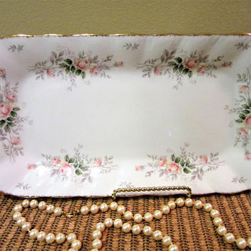 Paragon Serving Tray Rectangular  Affection Pattern England Bone China Gold Trim Roses blm