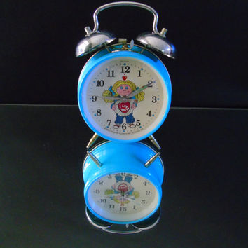 Cabbage Patch Kids Wind Up Twin Bell Alarm Clock w Date 1983 Original Appalachian Art Woks
