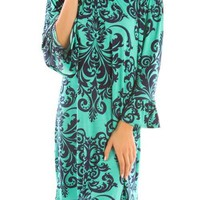 Damask Print Bell Sleeve Tunic/Dress--Mint/Navy