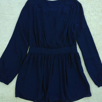 Long Sleeve Navy Blue Romper