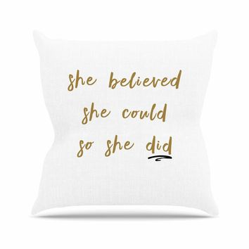 Believe - Gold White Typography Digital Throw Pillow