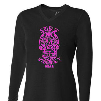 Womens Tri-blend Performance Shirt - Sugar Skull