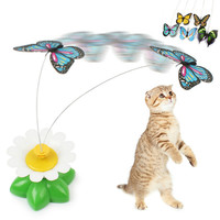 Cat Training  Behaviour Aids Funny Cat Toy Electric Rotating Colorful Butterfly Bird Pet Seat Scratch Toy For Cats Dog