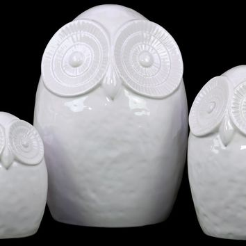 Ceramic Owl Figurine W/ Big Round Ey'S Set Of Three In White