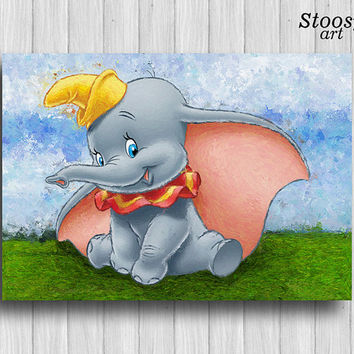 dumbo print nursery elephant decor disney baby room animal poster