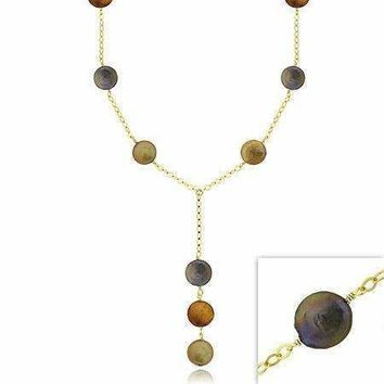 18K Gold over Sterling Silver Freshwater Cultured Multi-Colored Coin Pearl Y Necklace