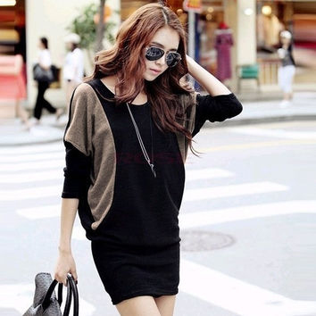Black Women Long Sleeve Cotton Blends Knitted Casual Bat-wing Skirts Warm Dress 6260 One Size Vestidos (Color: Black) = 1745502148