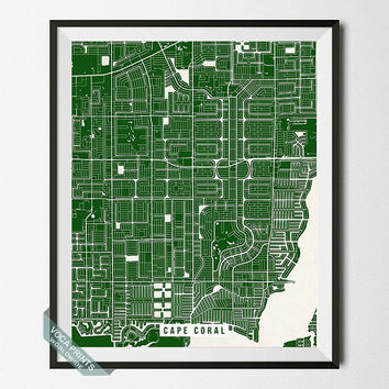 Cape Coral Street Map Print, Florida Poster, Cape Coral Poster, Florida Print, Gulf of Mexico, Home Wall Art, Wall Decor, Back To School