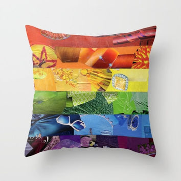Rainbow Flag Indoor OR Outdoor Throw Pillow COVER, Decorative Pillow cover, Home Decor Colorful Pillows for Couch, Gay Pride