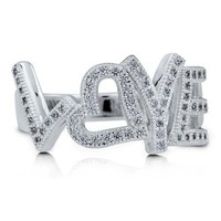 Sterling Silver 925 LOVE Script Cubic Zirconia CZ Fashion Ring #r520