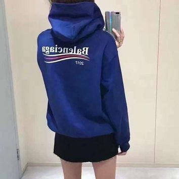 ONETOW balenciaga women sport casual fashion letter print loose long sleeve hooded swe