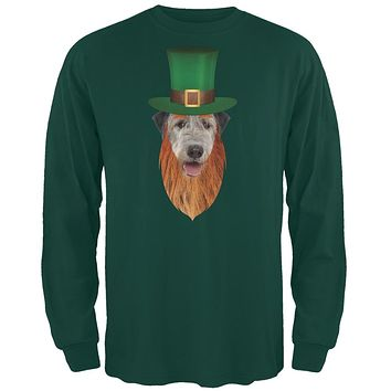 St. Patricks Day - Irish Wolfhound Leprechaun Forest Green Adult Long Sleeve T-Shirt