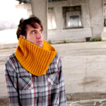 Unisex Cowl Knitted Cowl Yellow Cowl Mens Cowl Mens Scarf Womens Cowl Womens Scarf Winter Accessories Chunky Cowl Scarf - Made to Order