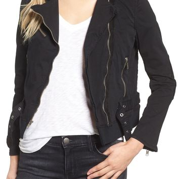 McGuire Stretch Twill & Faux Suede Moto Jacket   Nordstrom