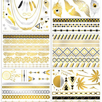 V.T Metallic Tattoos - HUGE! 6 SHEETS PACK (more than 50 tattoos!) - Gold Silver & Black Body Temporary Metallic Tattoos - Jewelry Inspired Bling Temp Tattoos - Long Lasting Trendy Designs ...