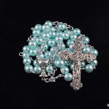 First Communion Rosary Silver Pearl Turquoise Catholic 5 Decade