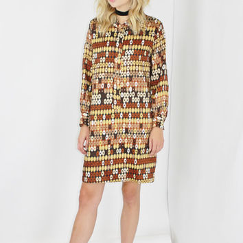 50s mod dress brown retro pattern long sleeve dress boho dress hippy dress small sm s shirt dress