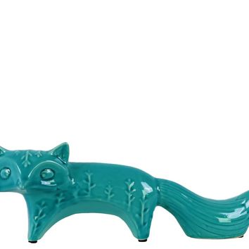 Ceramic Distressed Gloss Finish Turquoise Embossed Standing Fox Figurine