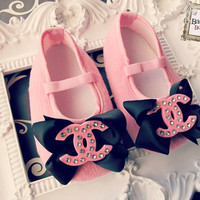 PRIVATE  Baby Girl Pink Crib Shoes ,Ready to ship