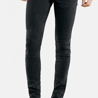 Men's Topman Washed Spray On Skinny Jeans (Black)