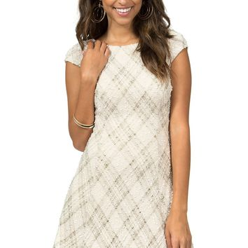 Teeze Me | Cap Sleeve Foil Plaid Knit Party Dress | Natural