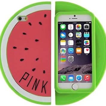 For iPhone 6 (4.7 inch) Case - Pink Watermelon Slice Soft Rubber Silicone Protection Skin Cover [MobileCentral]