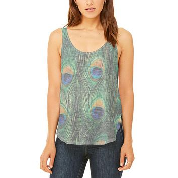 Peacock Feathers Juniors Flowy Side Slit Tank Top